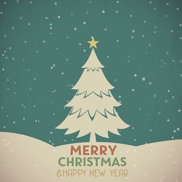 Retro greeting card with christmas tree Free Vector