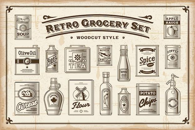 Retro grocery set one color Premium Vector