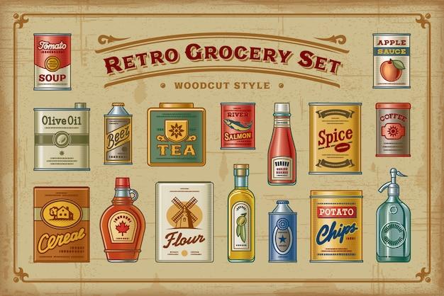 Retro grocery set Premium Vector
