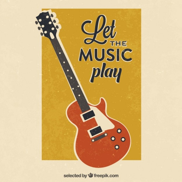 Retro Guitar Poster Vector Free Download