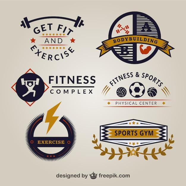 retro gym logo templates vector free download