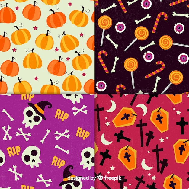 Retro halloween pattern collection Free Vector