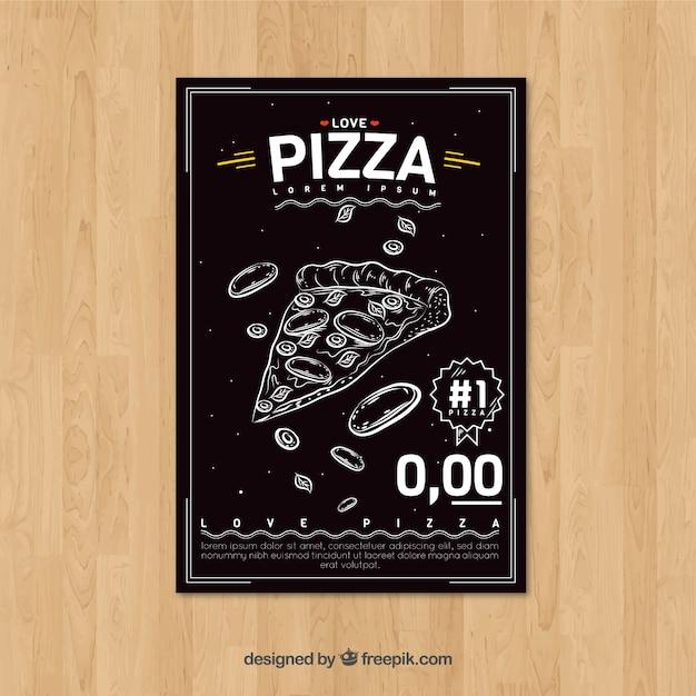 Retro hand drawn pizza brochure