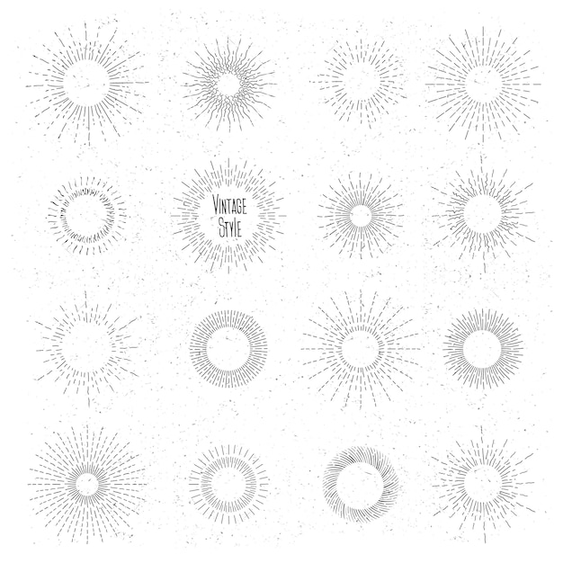 Retro hand drawn sunburst set. sun ray frames in vintage hipster style. badge and burst, ray , vintage design, collection element radial. Free Vector