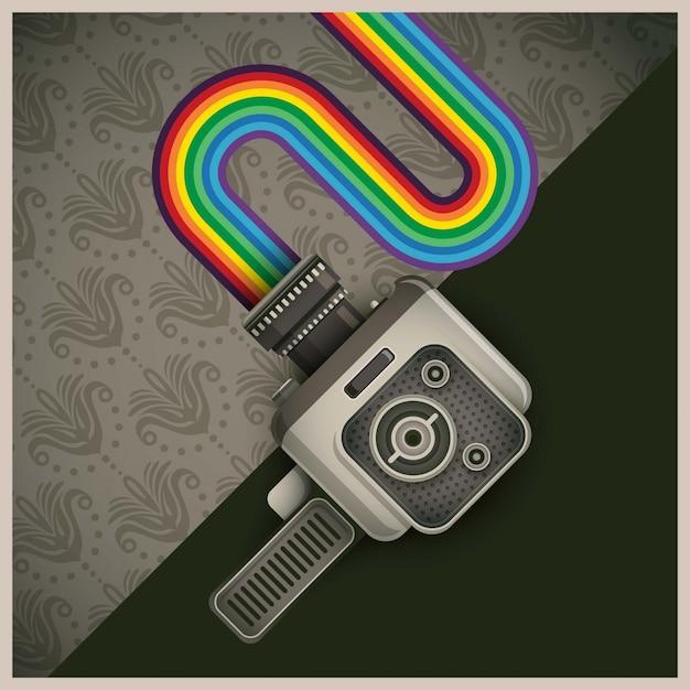 Retro handy cam and rainbow illustration Premium Vector