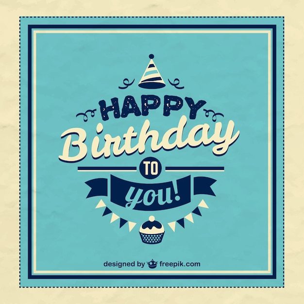 retro happy birthday card vector  free download, Birthday card