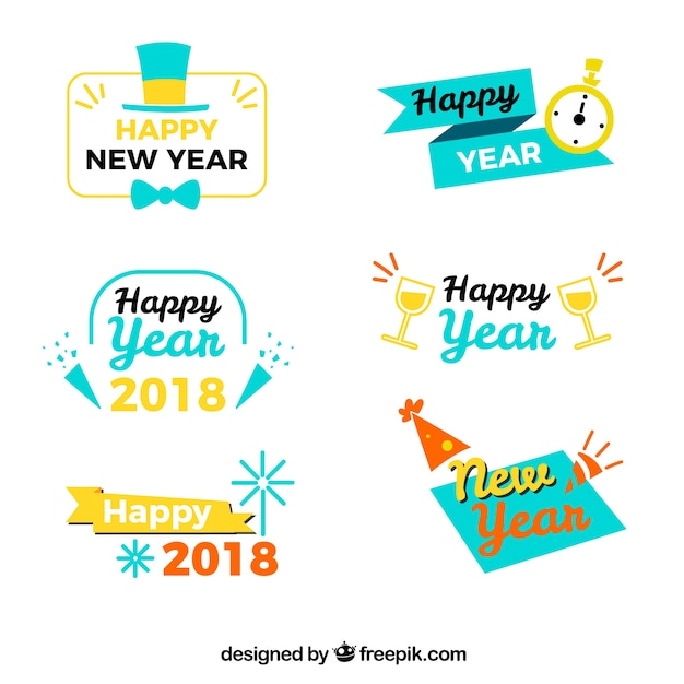 Retro happy new year 2018 stickers Vector | Free Download