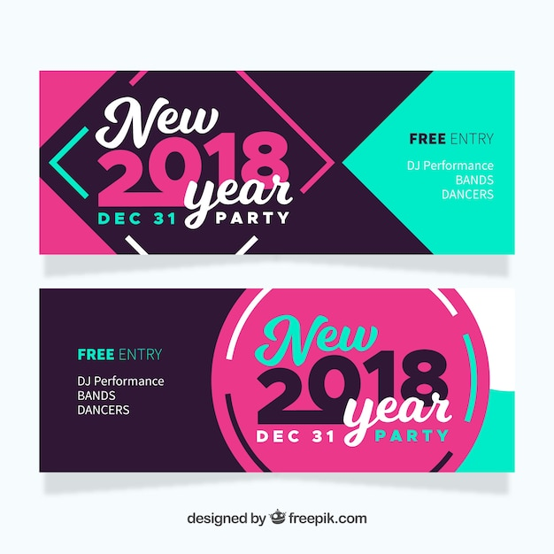 retro happy new year banners 2018 free vector