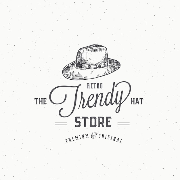 Ретро шляпа магазин абстрактный знак, символ или шаблон логотипа. Premium векторы