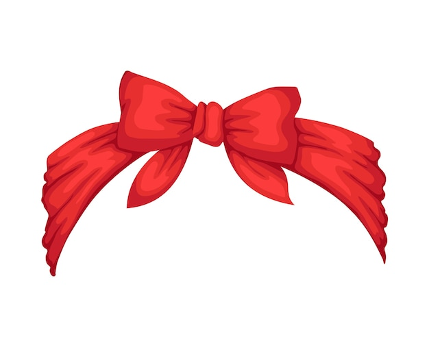 Retro headband for woman. red bandana for hairstyle. windy hair dressing with bow. Premium Vector