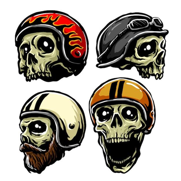 Retro helmet skull Premium Vector