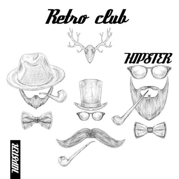 Retro hipster club accessories Free Vector