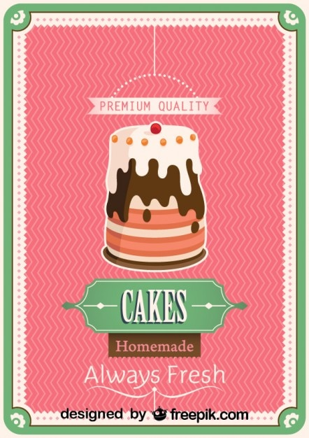 Free Vector Retro Homemade Cake Poster Design