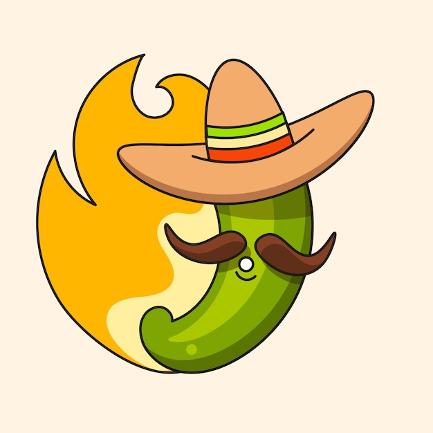Retro hot mexican green chili pepper with mexican hat and moustache Premium Vector