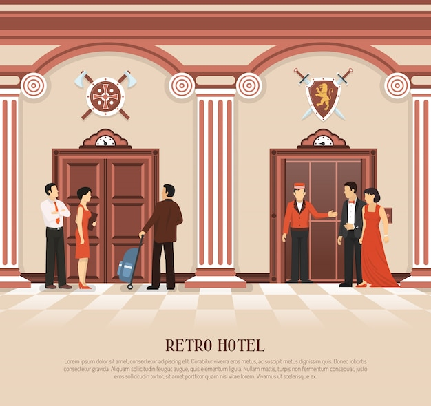 Retro hotel elevator background Free Vector