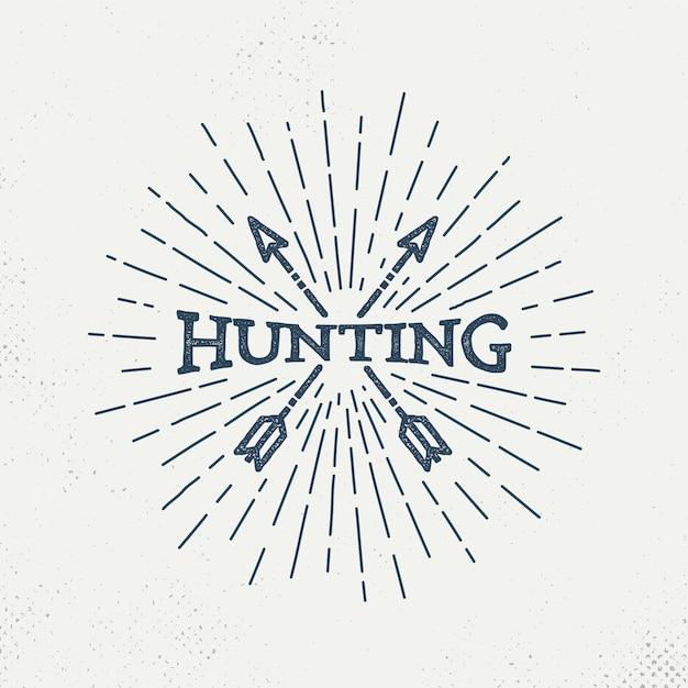 Retro hunting logo Premium Vector