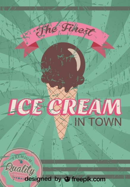 retro ice cream poster design finest quality vector