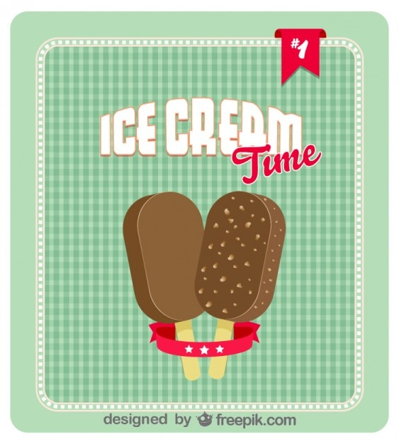 Ретро мороженое дизайн плаката Бесплатные векторы