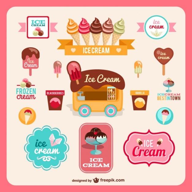 Ice Cream Free Vector Download 980 Free Vector For: Retro Ice-cream Sweet Badges Vector