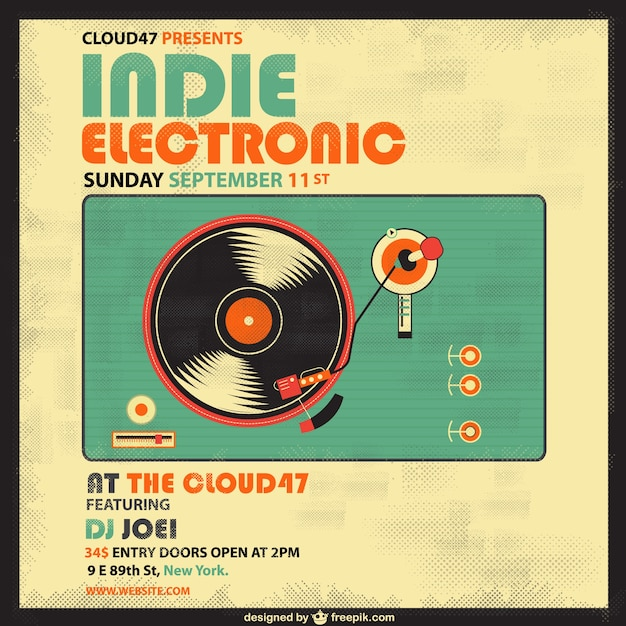 Retro indie electronic poster Free Vector