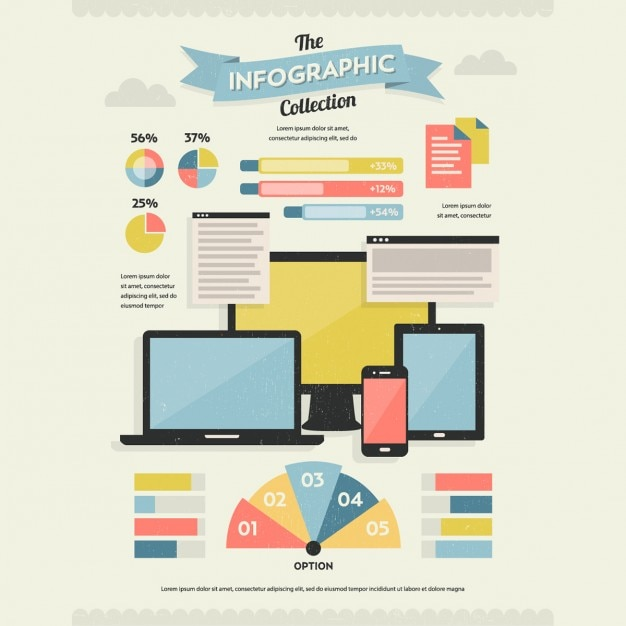 Retro infographic about new technologies