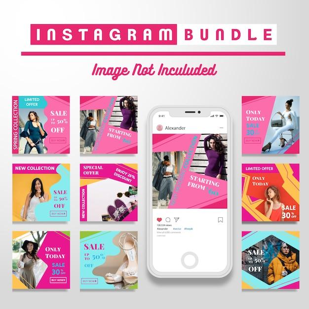 Retro instagram fashion post template Premium Vector