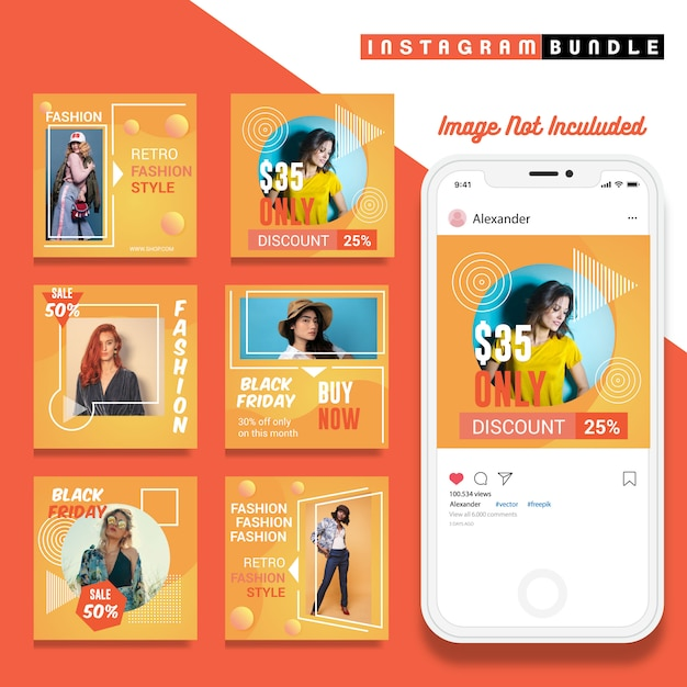 Retro instagram fashion post template Premium Vector