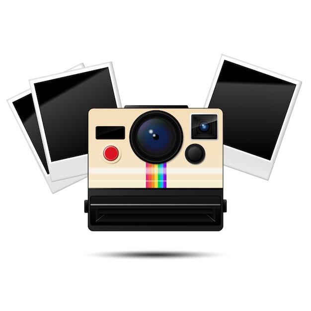 Retro instant camera and  blank photo frames, vector illustration Premium Vector