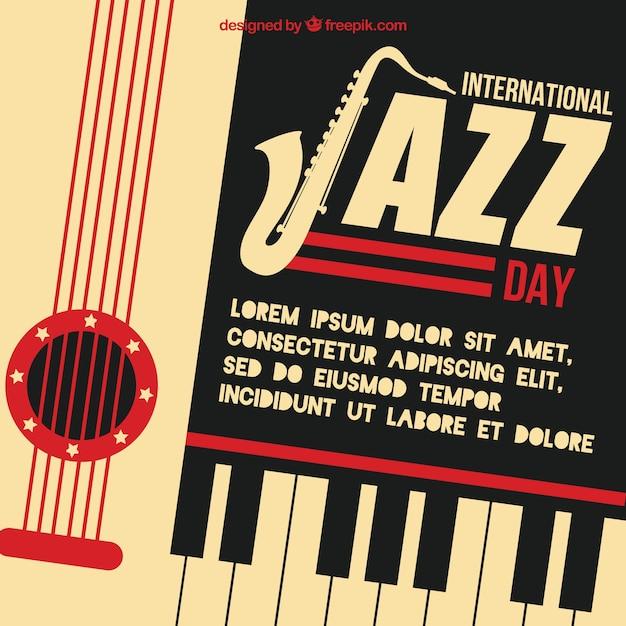 Ретро фон международный джазовый день Бесплатные векторы
