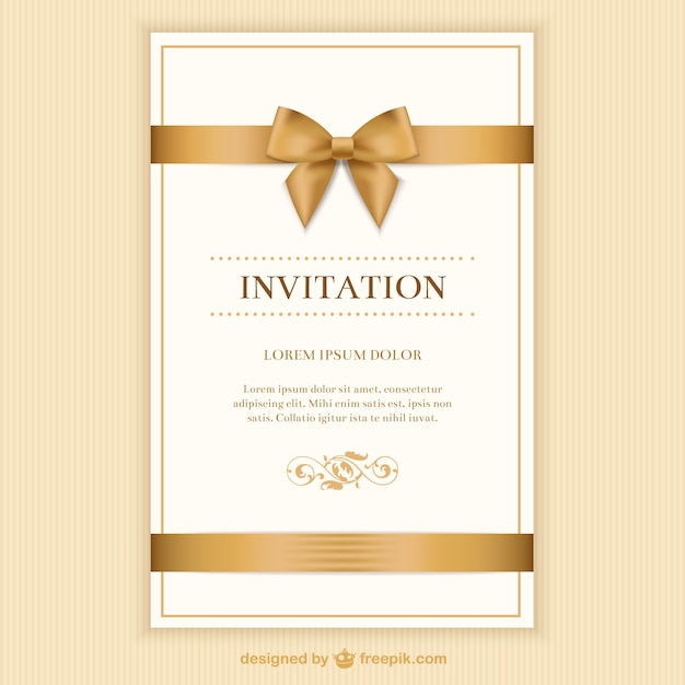 retro invitation card with a ribbon vector free download