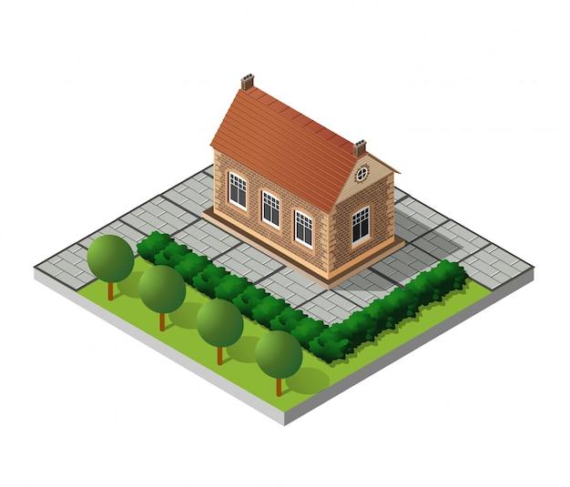 Retro isometric country house Premium Vector