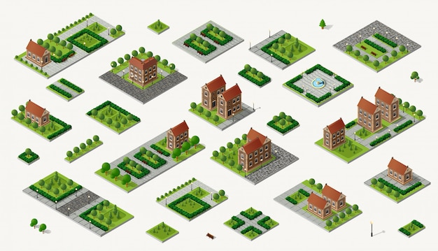 Retro isometric country house Premium Vector