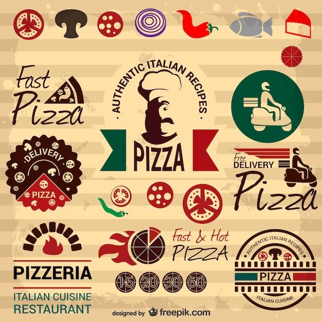 Retro italian pizza graphic elements Free Vector