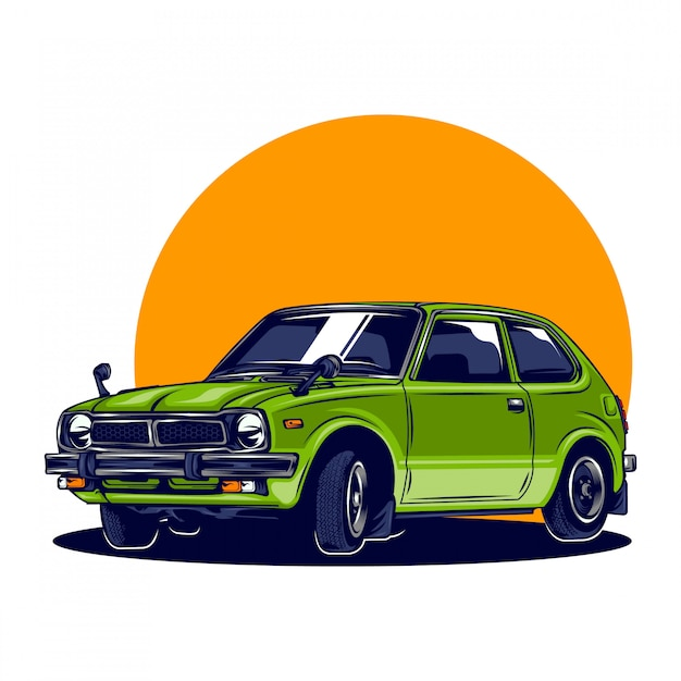 Retro japanese car illustration with solid color Premium Vector