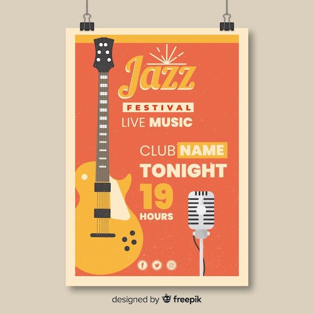 Retro jazz music festival poster template Free Vector