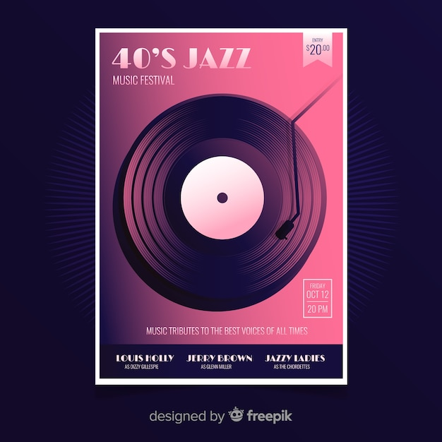 Retro jazz music poster template Free Vector