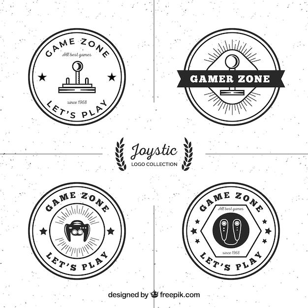 Retro joystick logo collection with elegant style Free Vector