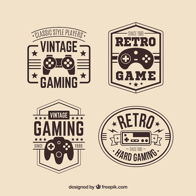 Retro joystick logo collection with elegant style Free Vector