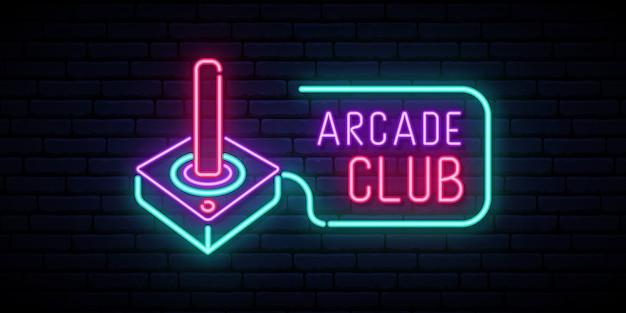 Retro joystick neon sign. Premium Vector