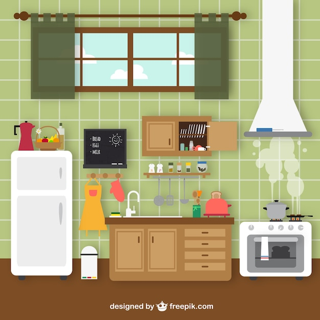 Cartoon Kitchen Furniture: Retro Kitchen Vector