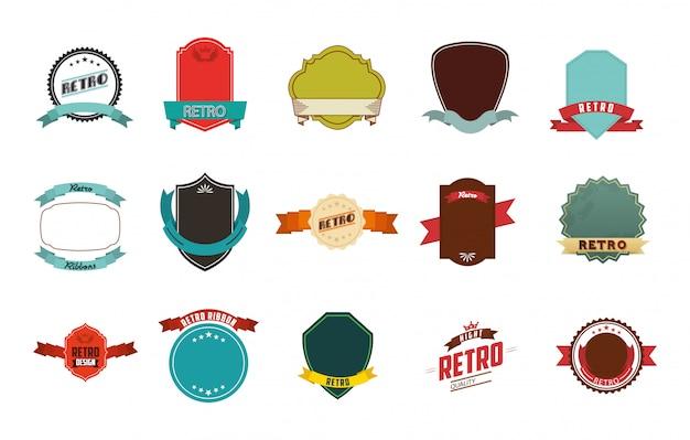 Retro label icon set Free Vector
