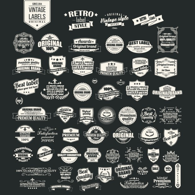 Retro labels collection Free Vector