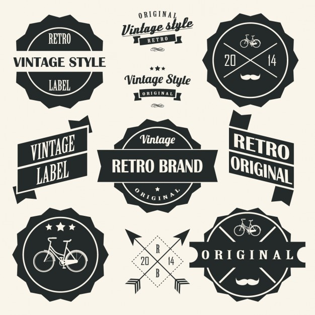 Retro labels designs collection Vector | Free Download