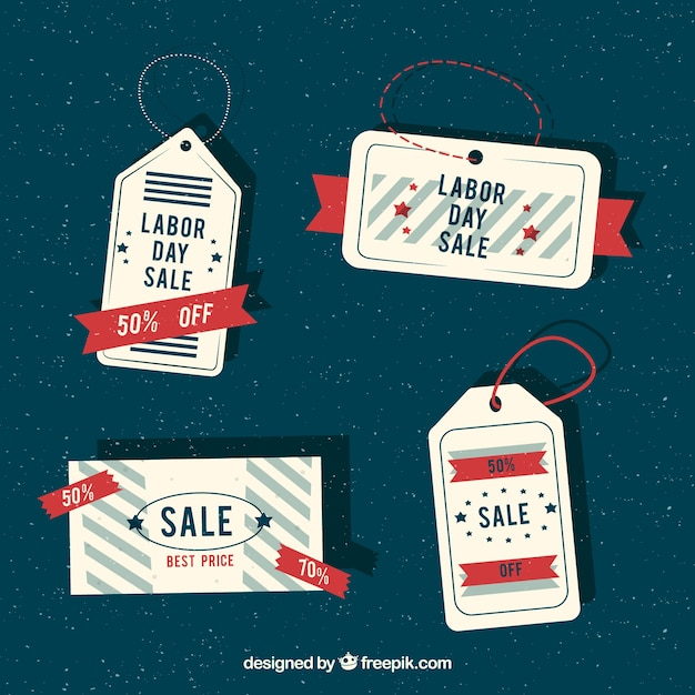 Retro labels of labor day sales