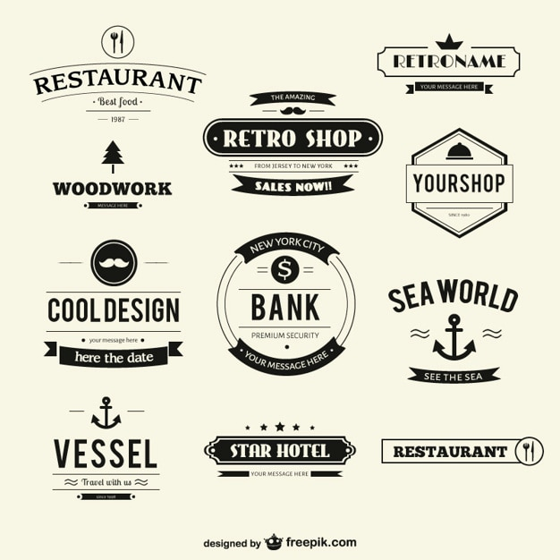 Retro labels pack Free Vector