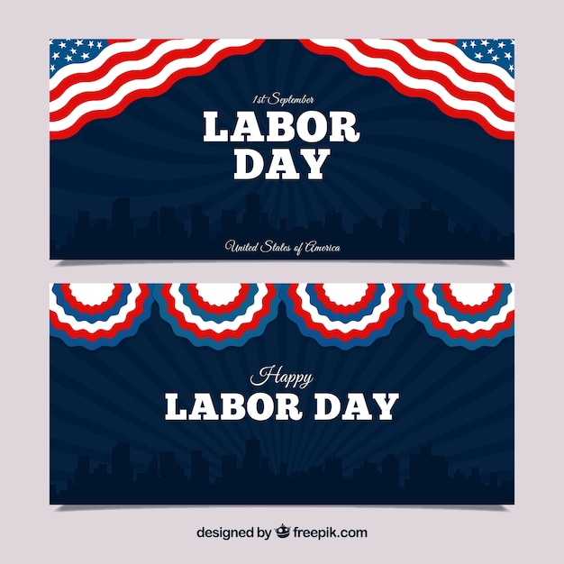 Retro labor day banners with american\ elements