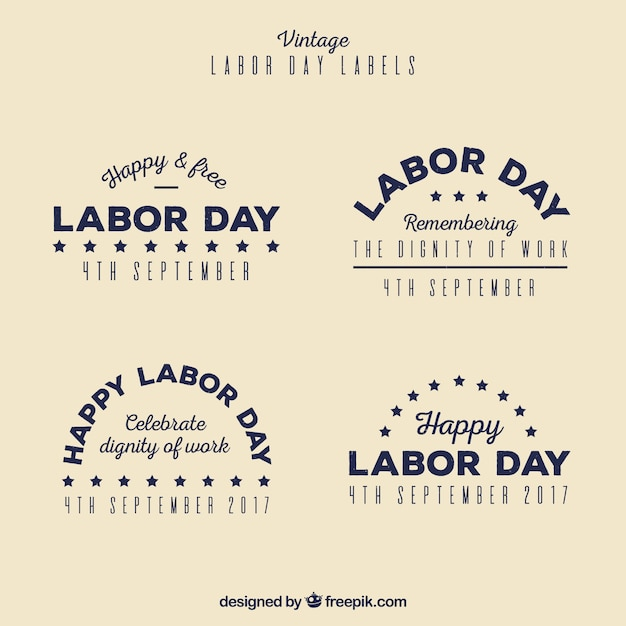 Retro labor day stickers pack
