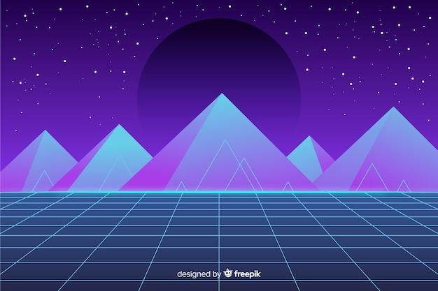 Retro landscape background futuristic style Free Vector