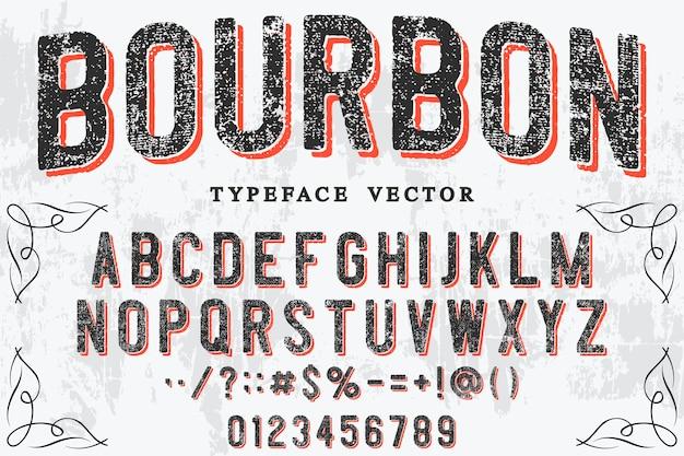Retro lettering design bourbon Premium Vector