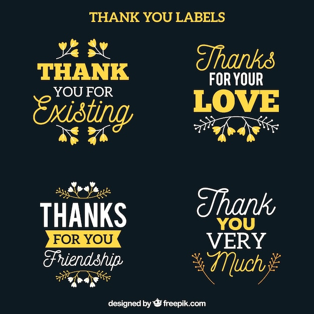 Retro lettering thank you sticker pack